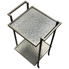 Art Deco Bacco Drinks Trolley in Dark Bronze and Silver Cracked Gesso