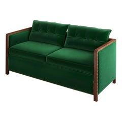 Bacco Sofa in Walnut, Luxe Velvet and Brass Studs