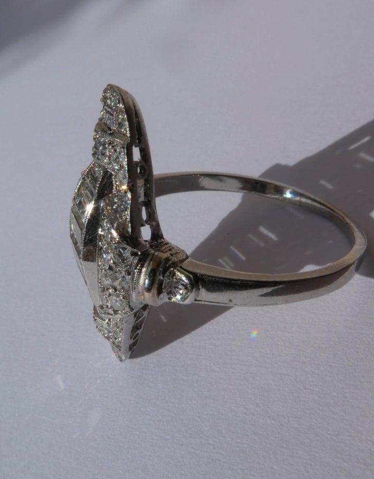 Baguette Cut Art Deco Baguette and Round Diamond Platinum Cluster Ring For Sale
