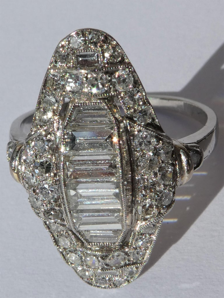 Art Deco Baguette and Round Diamond Platinum Cluster Ring For Sale 1