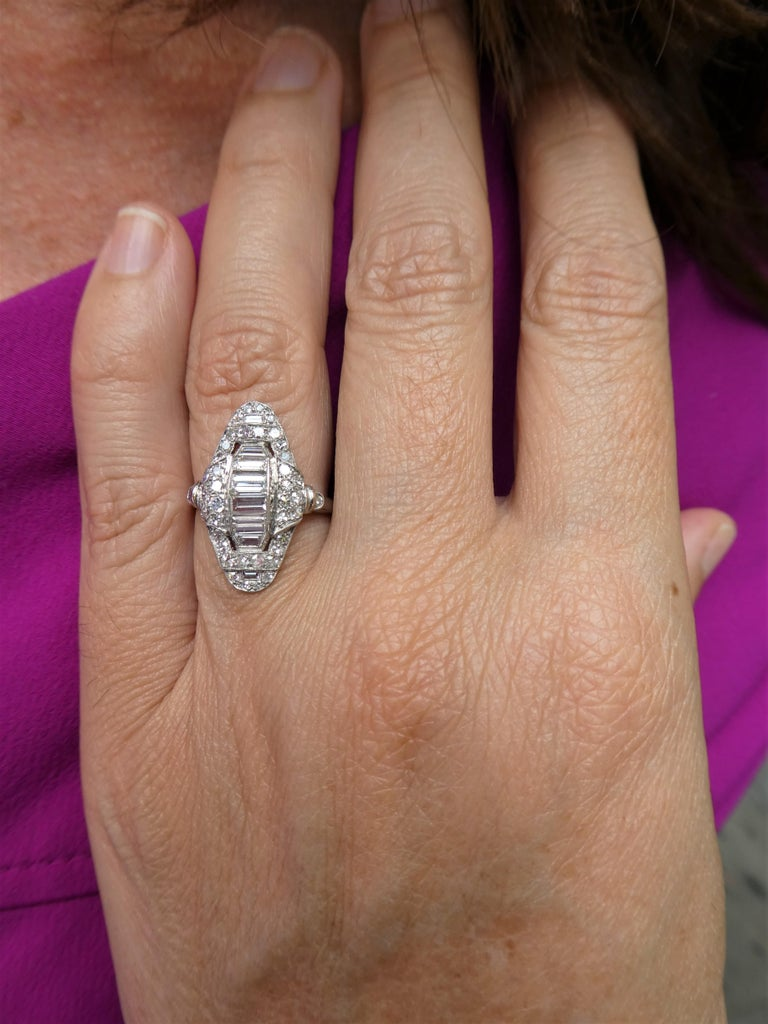 Art Deco Baguette and Round Diamond Platinum Cluster Ring For Sale 2