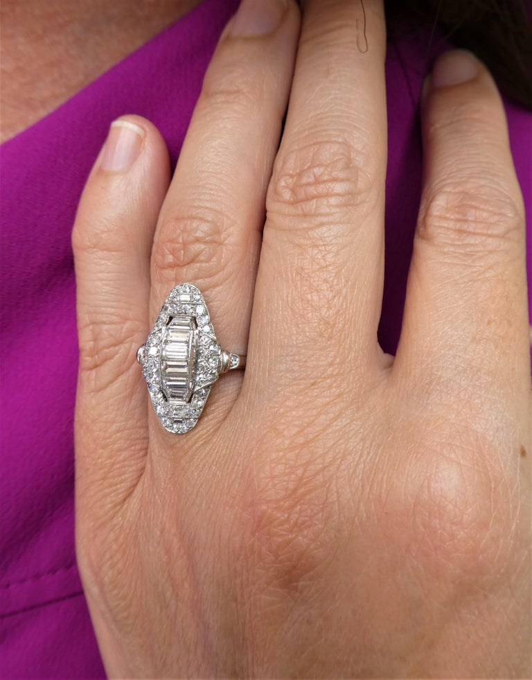 Art Deco Baguette and Round Diamond Platinum Cluster Ring For Sale 3
