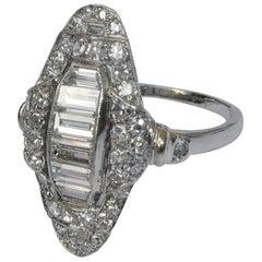 Art Deco Baguette and Round Diamond Platinum Cluster Ring