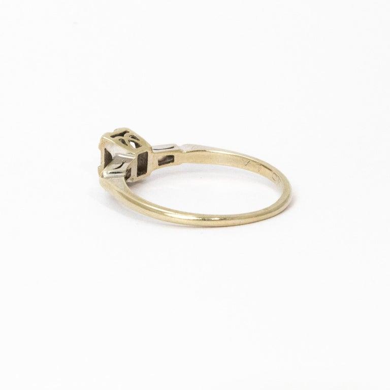 Baguette Cut Art Deco Baguette Diamond 14 Carat White Gold For Sale