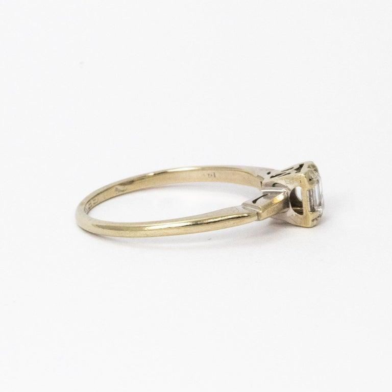 Women's Art Deco Baguette Diamond 14 Carat White Gold For Sale