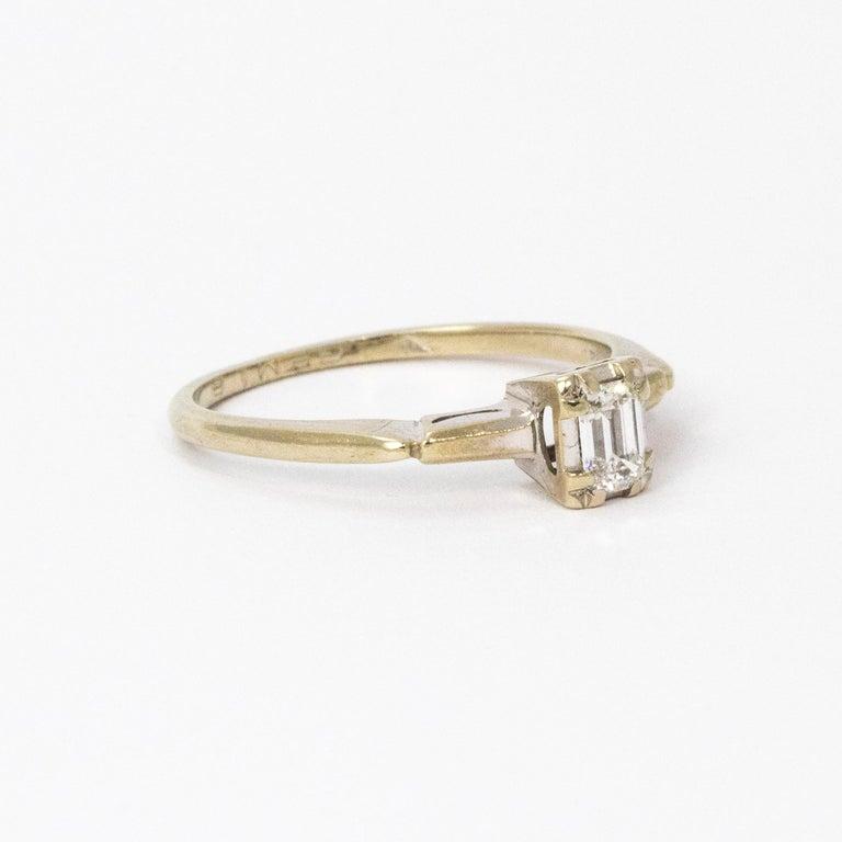 Art Deco Baguette Diamond 14 Carat White Gold For Sale 1