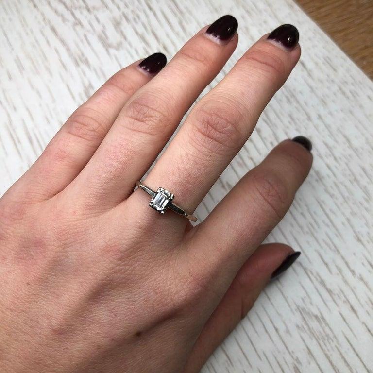 Art Deco Baguette Diamond 14 Carat White Gold For Sale 2