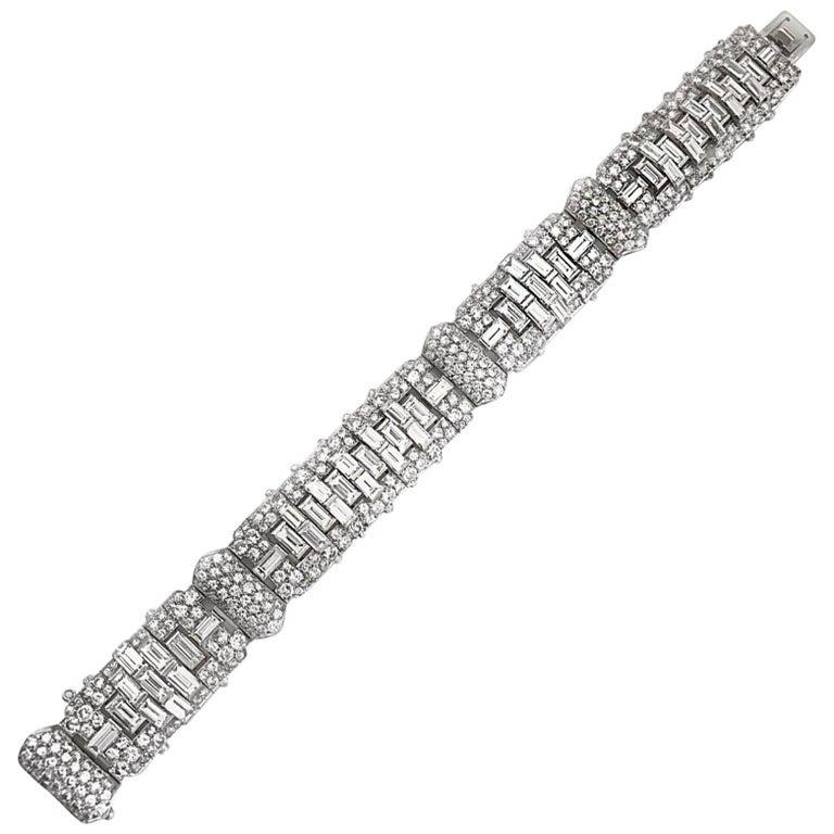Art Deco Baguette Round Diamond Platinum Bracelet For Sale