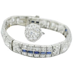 Art Deco Baguette Sapphire and Diamond Bracelet