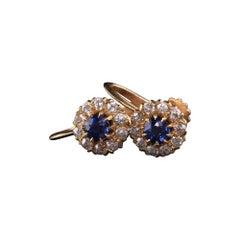 Art Deco Bailey Banks Biddle 18K Rose Gold Old Mine Diamond Sapphire Earrings