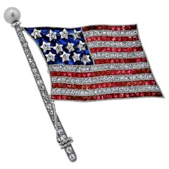 Art Deco Bailey Banks & Biddle Diamond Ruby Sapphire Platinum American Flag Pin
