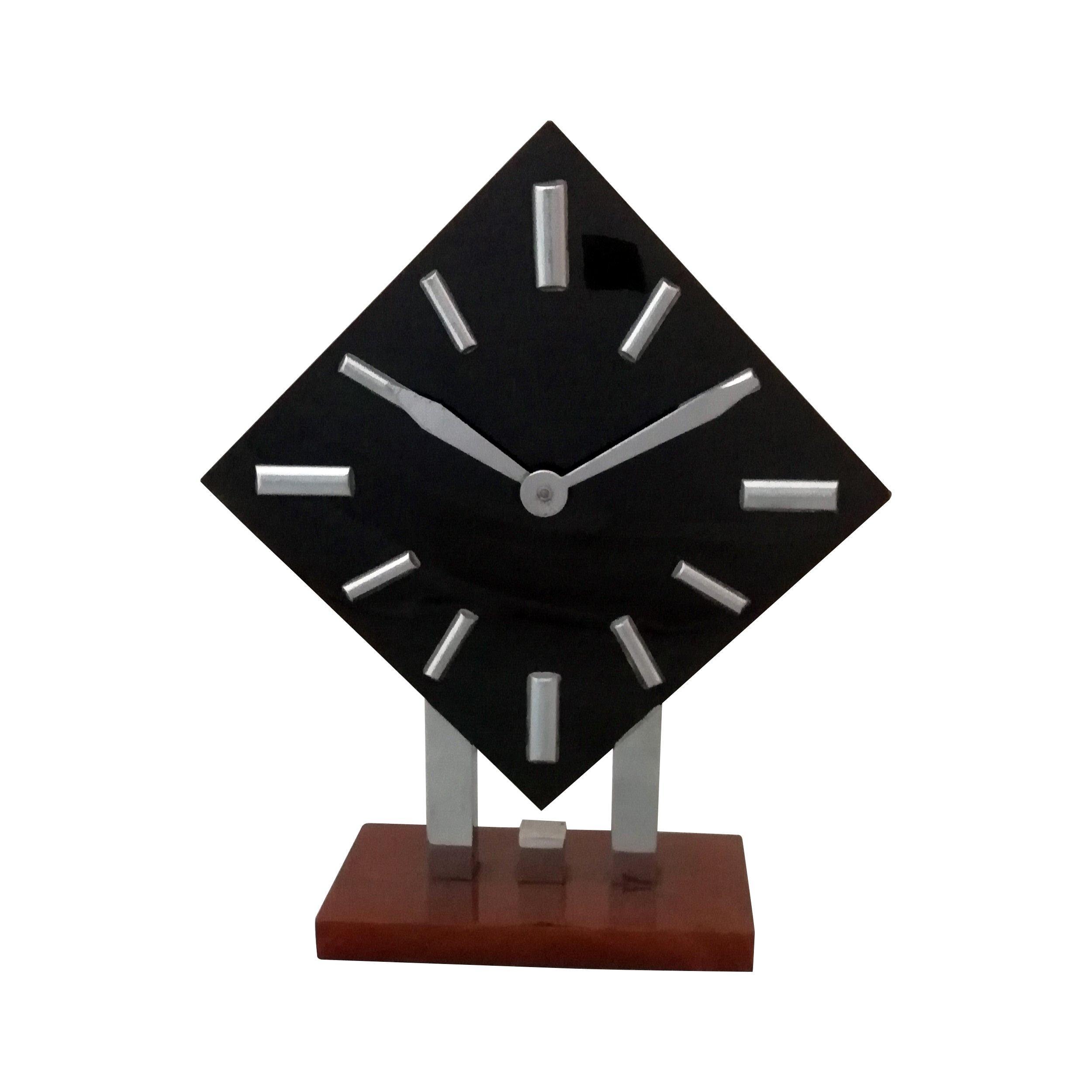 Art Deco Bakelite and Chrome Wind-Up Alarm Clock