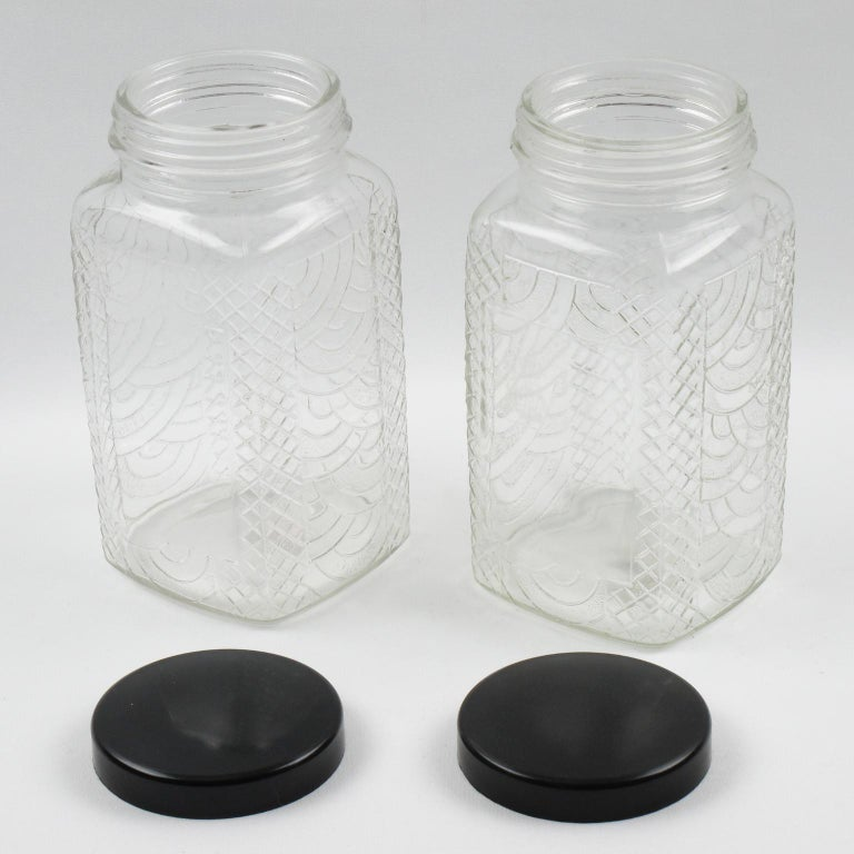 French Art Deco Bakelite Molded Glass Kitchen Canister Jar, a pair