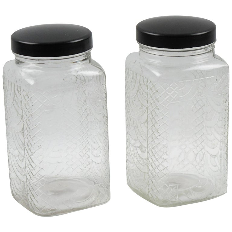 Art Deco Bakelite Molded Glass Kitchen Canister Jar, a pair