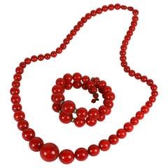 Art Deco Bakelite Bead and Bracelet Set