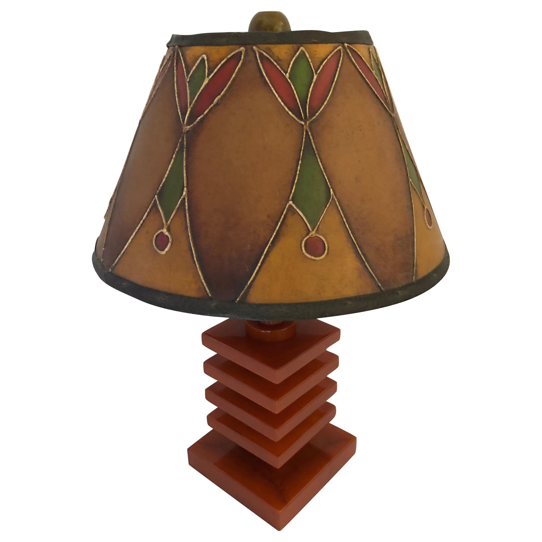 Art Deco Bakelite / Catalin and Hand Decorated Shade Lamp