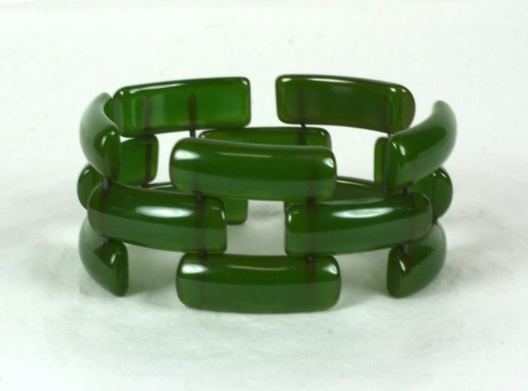 Women's or Men's Art Deco Bakelite Link Bracelet For Sale