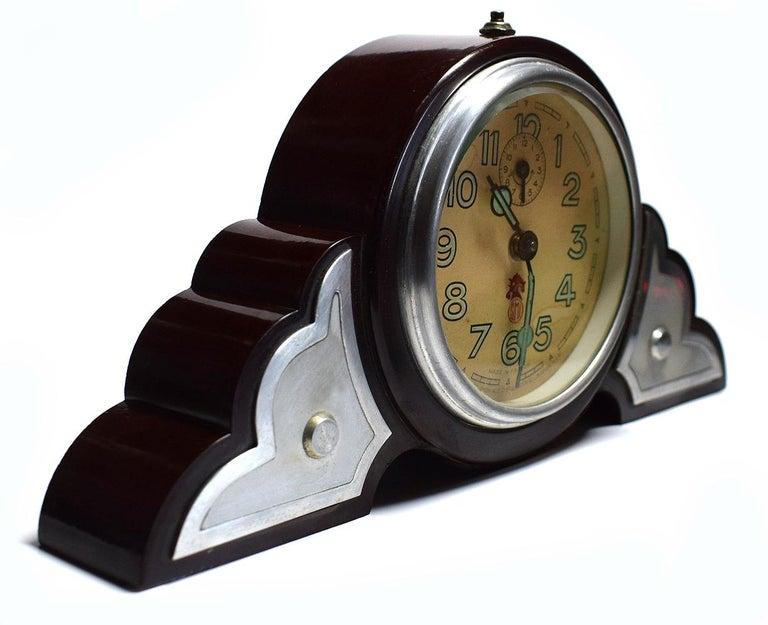 French Art Deco Bakelite Odeon Clock by JAZ For Sale