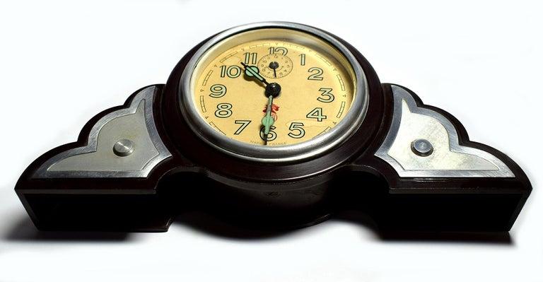 Glass Art Deco Bakelite Odeon Clock by JAZ For Sale