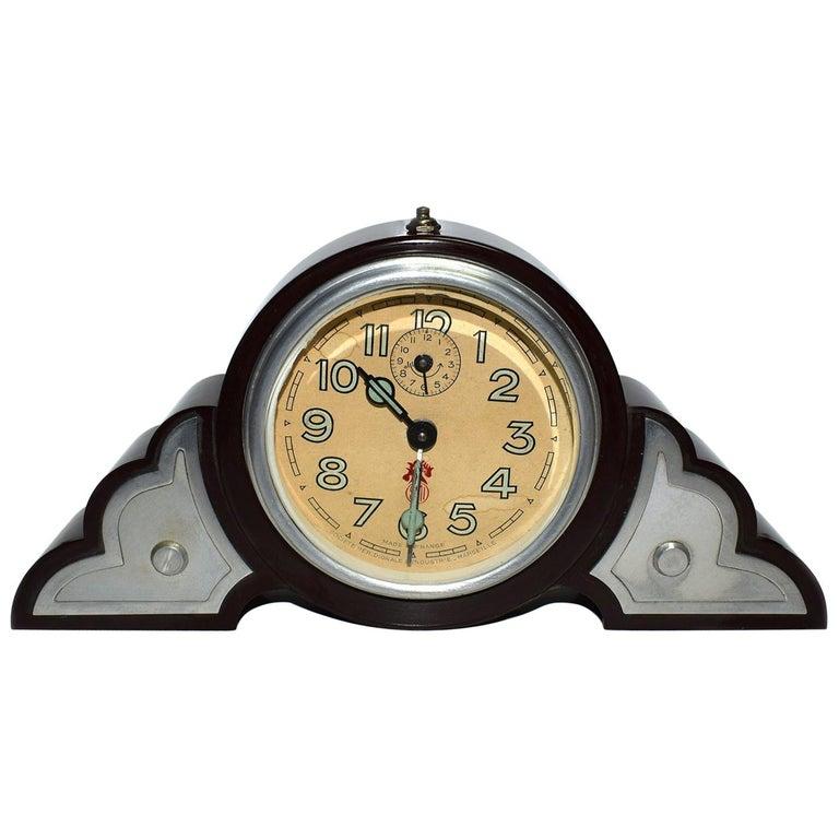 Art Deco Bakelite Odeon Clock by JAZ For Sale
