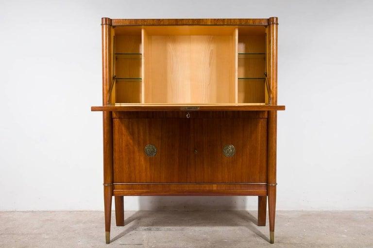 Belgian Art Deco Bar Cabinet Designed by De Coene Frères, Belgium with Bronze Medaillons For Sale