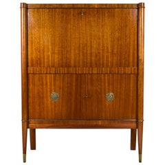 Art Deco Bar Cabinet Designed by De Coene Frères, Belgium with Bronze Medaillons