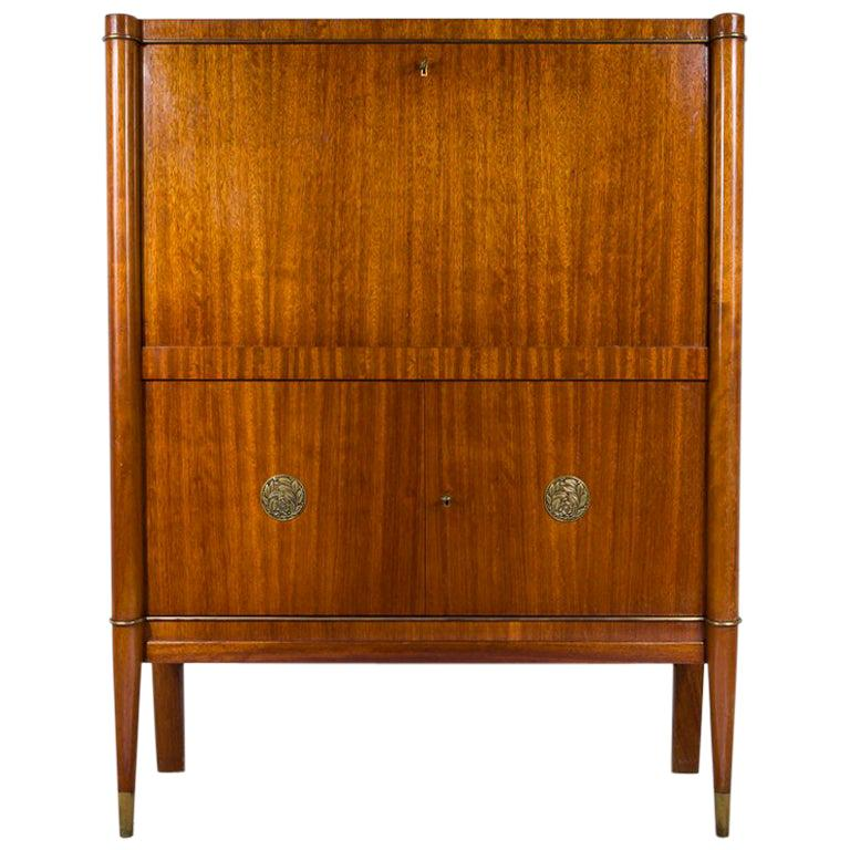 Art Deco Bar Cabinet Designed by De Coene Frères, Belgium with Bronze Medaillons For Sale