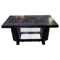 Art Deco Bar Table with Vitrine Black Cerused Oak 2 Side Doors Glass Bottom