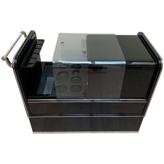 Mobile Art Deco Bar Trolley, Black Lacquer and Chrome, England, circa 1930