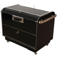 Mobile Art Deco Bar, Black Piano Lacquer, Maple and Chrome, France circa 1930