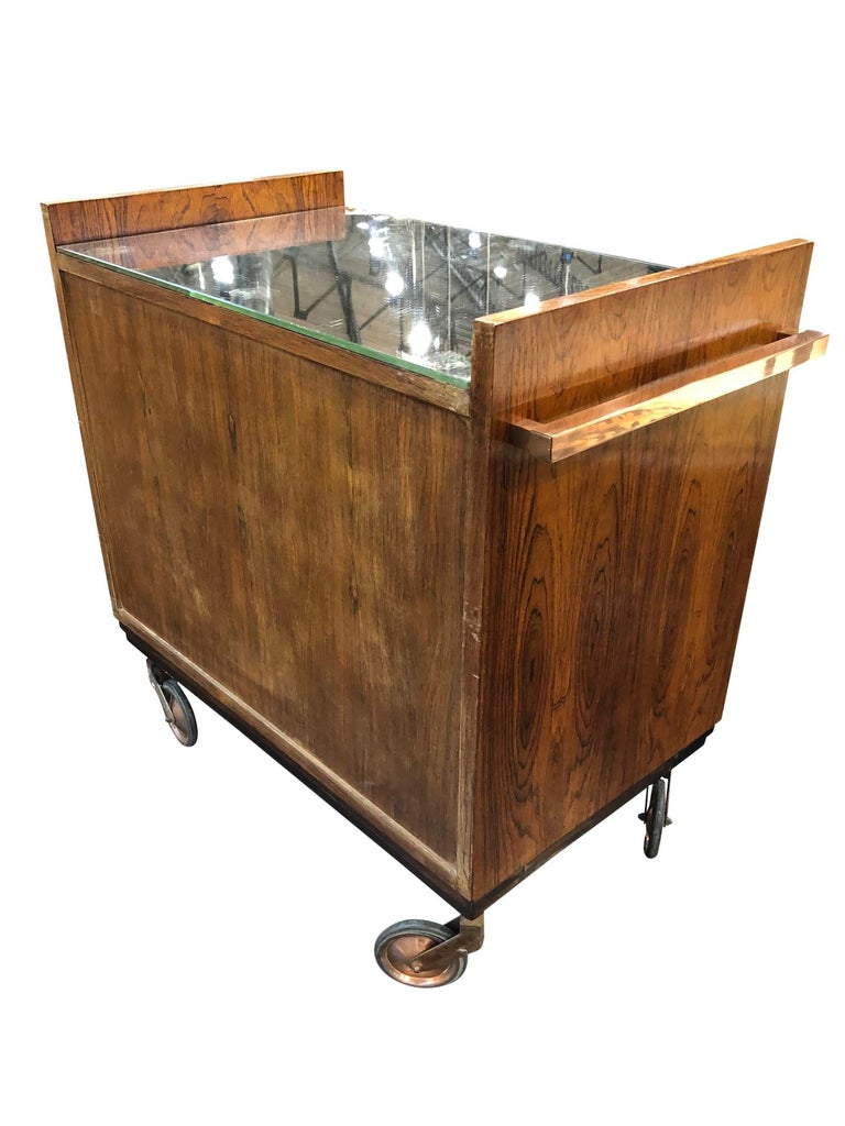 Art Deco Bar Trolley in Style of Jacques Adnet with Original Mirror France 1930s For Sale 6