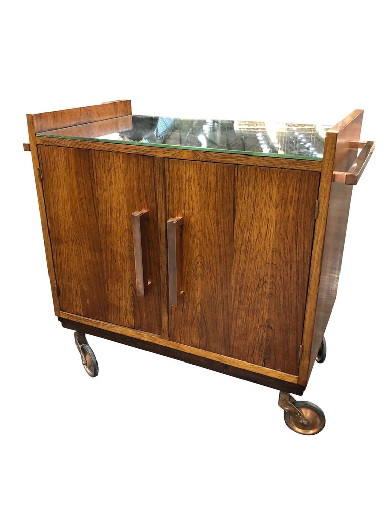 Art Deco bar trolley in style of Jacques Adnet 