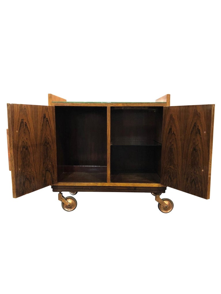 Veneer Art Deco Bar Trolley in Style of Jacques Adnet with Original Mirror France 1930s For Sale