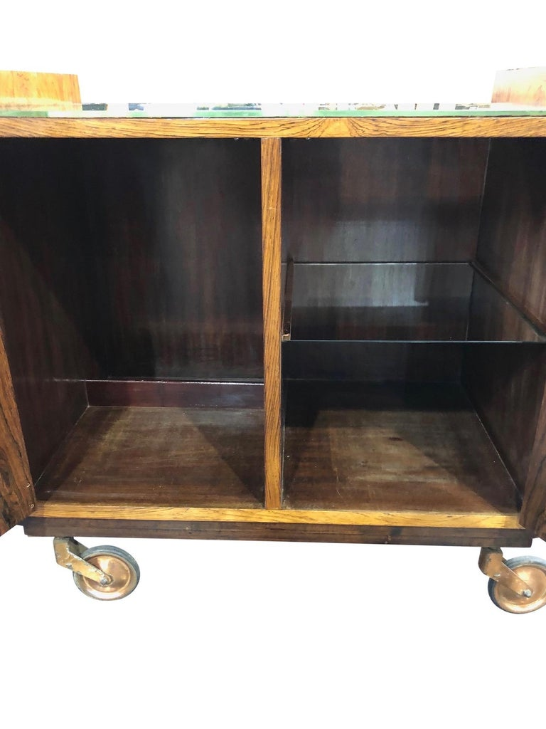 Art Deco Bar Trolley in Style of Jacques Adnet with Original Mirror France 1930s For Sale 2