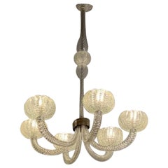 Art Deco Barovier Murano Chandelier with 6 Arms of Light, Italy, 1940s