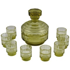 Art Deco Barware Bohemian Crystal Decanter and Glass Set, 9 Pieces