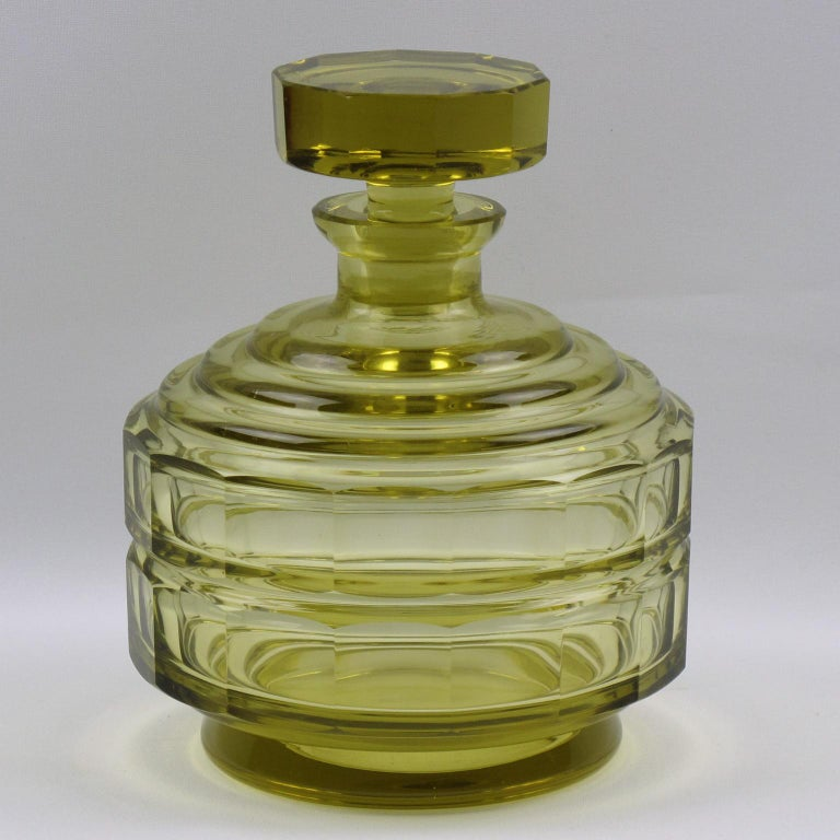 French Art Deco Barware Bohemian Crystal Liquor Alcohol Decanter and Glass Set 9 Pieces For Sale