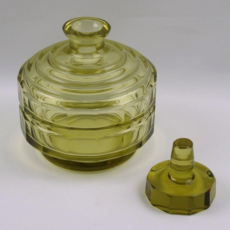 Art Deco Barware Bohemian Crystal Liquor Alcohol Decanter and Glass Set 9 Pieces In Good Condition For Sale In Atlanta, GA