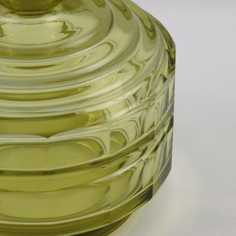 Art Deco Barware Bohemian Crystal Liquor Alcohol Decanter and Glass Set 9 Pieces For Sale 1