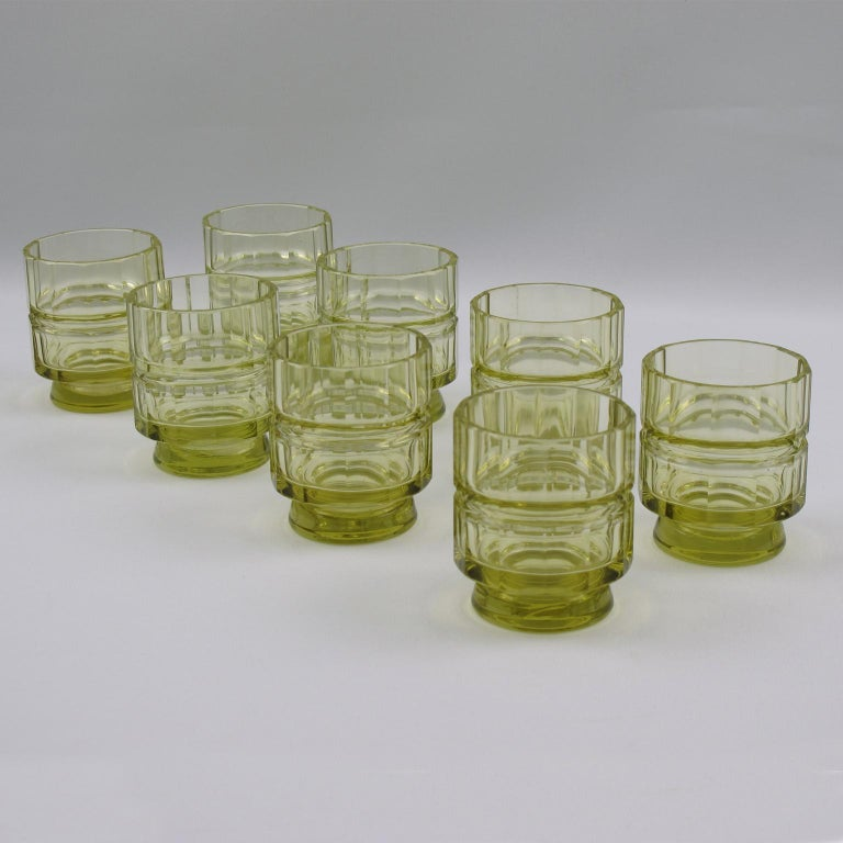Art Deco Barware Bohemian Crystal Liquor Alcohol Decanter and Glass Set 9 Pieces For Sale 2