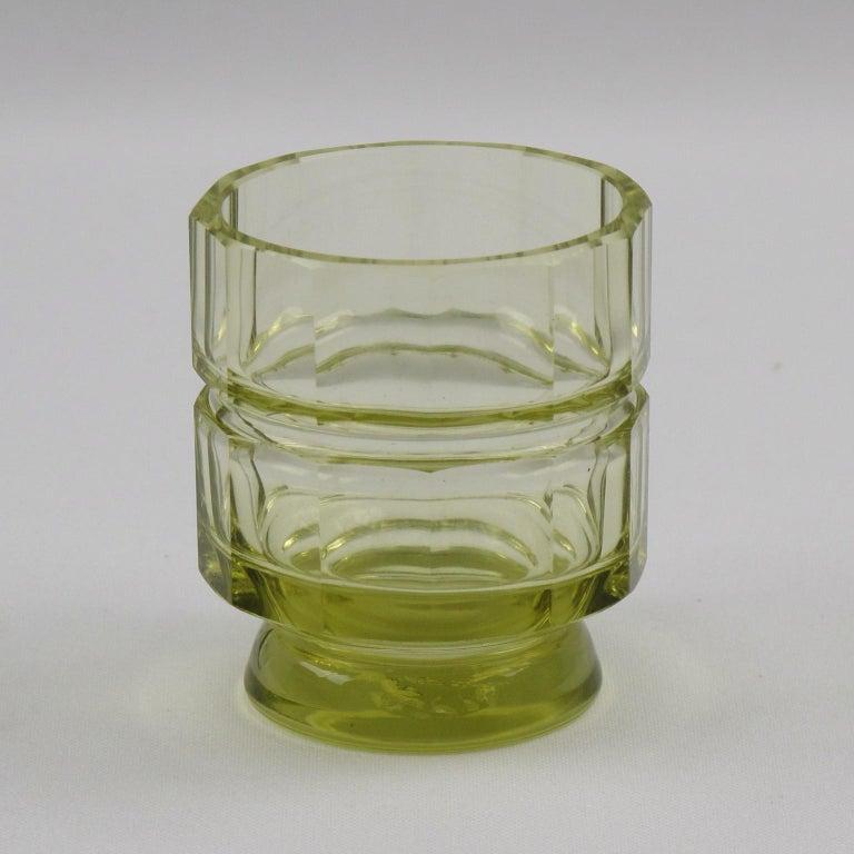 Art Deco Barware Bohemian Crystal Liquor Alcohol Decanter and Glass Set 9 Pieces For Sale 3