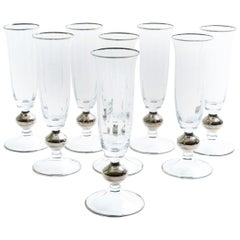 Art Deco Barware Crystal Flute Service / 8 People