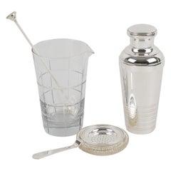 Art Deco Barware Set Silver Plate Shaker and Crystal Martini Mixer in Box
