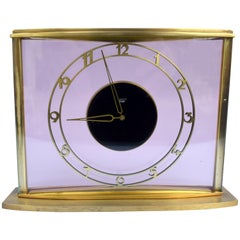 Art Deco Bauhaus 8 Day Brass & Glass Clock by Junghans, circa 1930