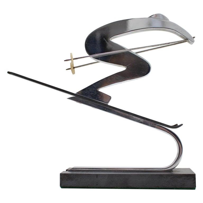 Art Deco Bauhaus Chrome and Marble Sport Sculpture, Skier, circa 1930s