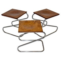 Art Deco Bauhaus Era Vintage Three Chromed Metal Stools, 1930s, Germany