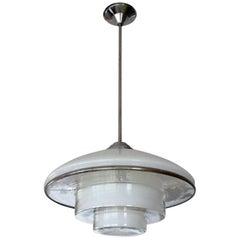 Sistrah Art Deco Bauhaus  Pendant Light, P4 Holophane Glas, 1930s Design