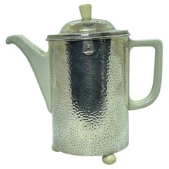 Art Deco Bauhaus Hutschenreuther Coffee Pot Hammered WMF Metal Cozy 1.4 Liter