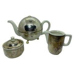 Art Deco Bauhaus Hutschenreuther Tea Pot Set Hammered WMF Metal Cozy, 1930s