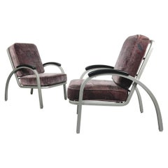 Art Deco Bauhaus Lounge Chairs Designed by Norman Bel Geddes